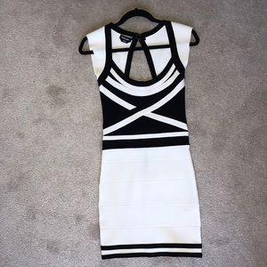 Black & White Bebe Bandage Dress